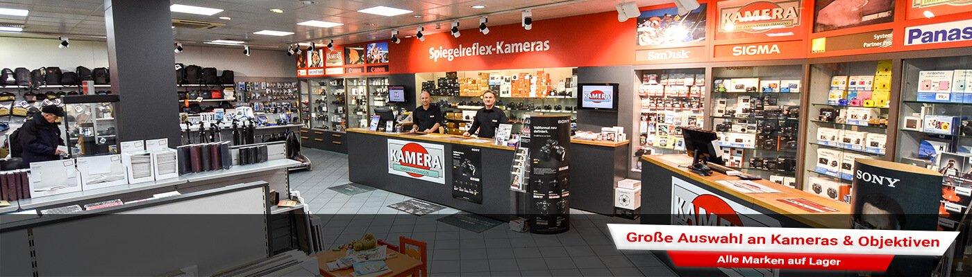 Riesen Auswahl an Kameras und Objektiven in unserem Wiesbadener Ladenlokal